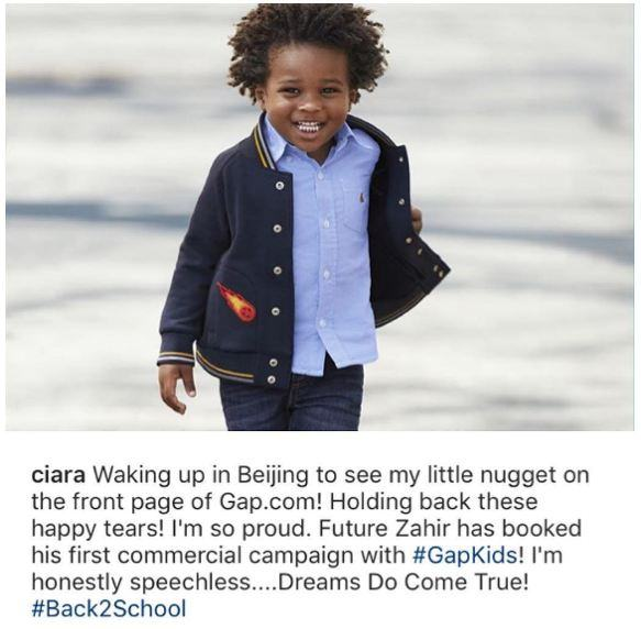 Ciara Shares Photo Of Her Son, Zahir As He Books His First Modeling Gig