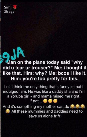 Man Blasts Simi's Outfit on a Plane