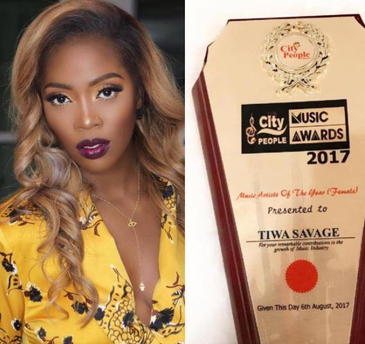 Tiwa Savage Wins Female Artiste of The Year at City People Music Awards