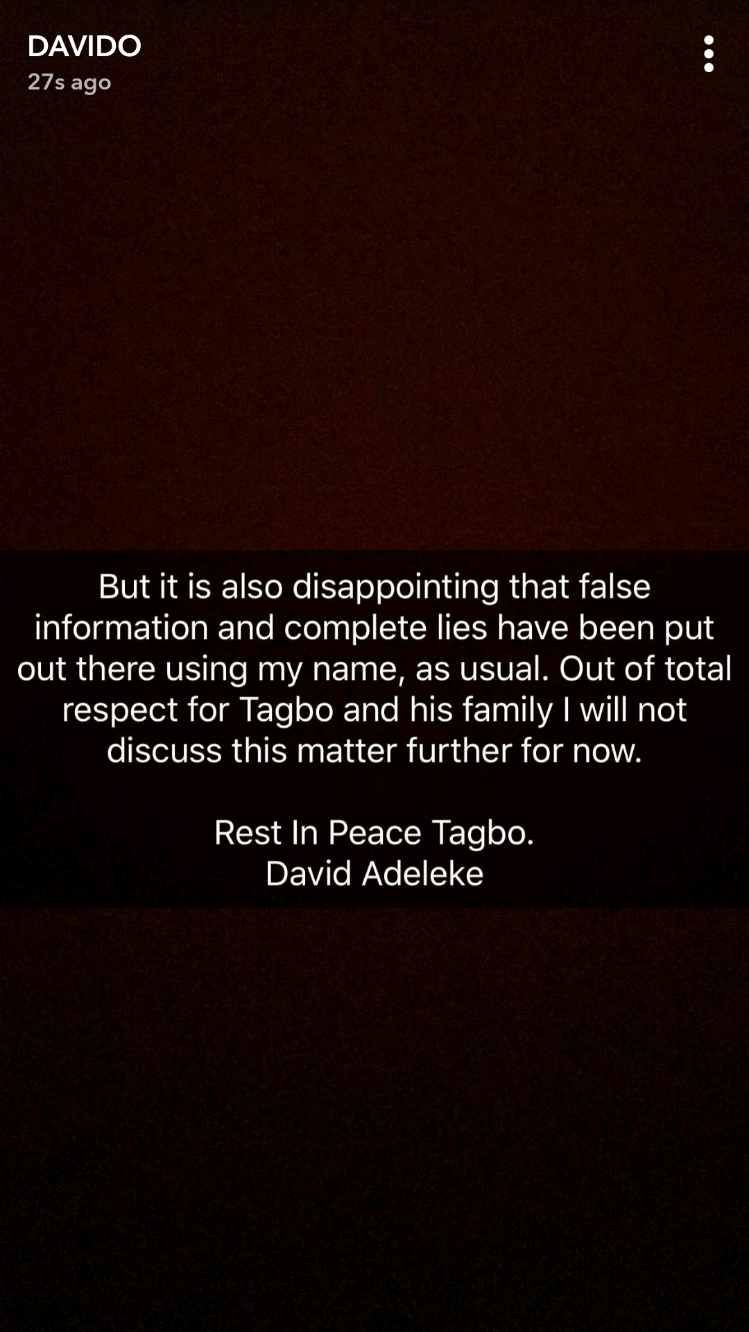 Davido Finally Reacts To Murder Accusations