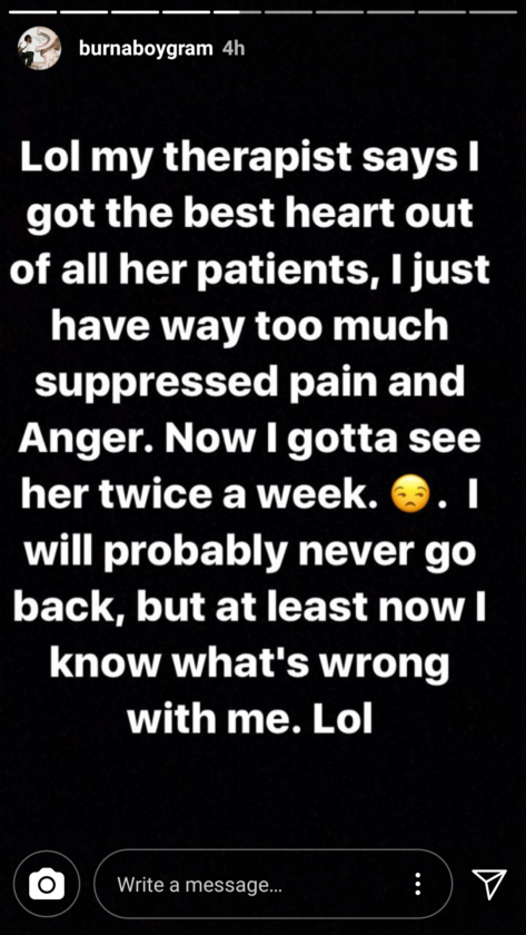 Burna Boy's Therapist Reveals To Him That He Has Way Too Much Suppressed Pain And Anger