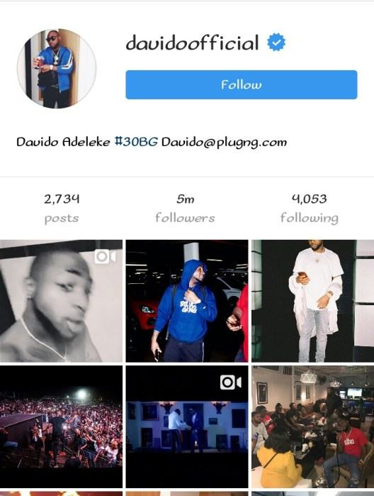 Davido Becomes Nigeria's Most Followed Celebrity On Instagram As He Hits 5million Followers