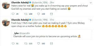Olamide Blasts Fan Who Compared Him To Ice Prince