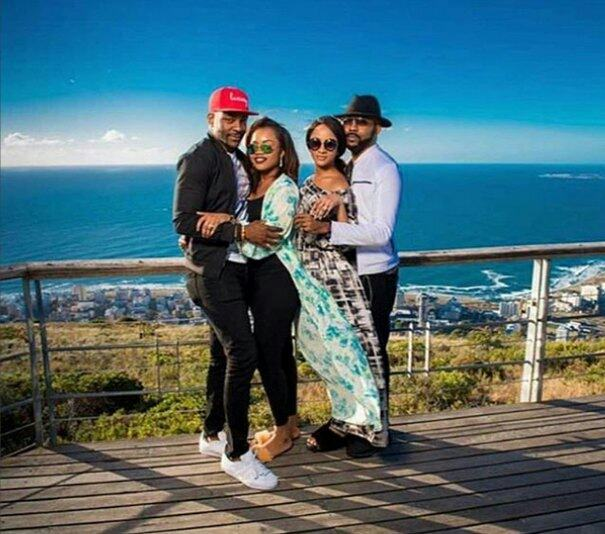 Banky W and Adesua Etomi with Ebuka in South Africa