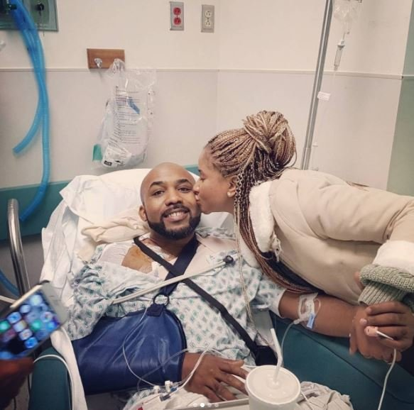 Banky W and Adesua in hospital