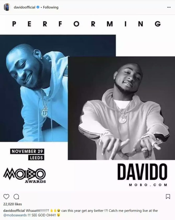 Davido Excited As He Is Booked To Perform At The 2017 MOBO Awards