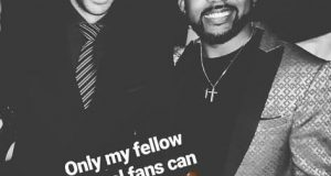Banky W pictured with Thierry Henry in Lagos