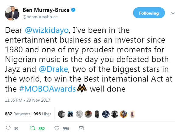 Ben Bruce speaks on Wizkid winning the 'Best international act' at the MOBO awards