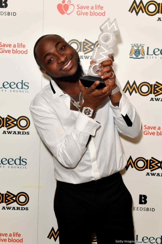 Davido Pictured With His MOBO 2017 Award