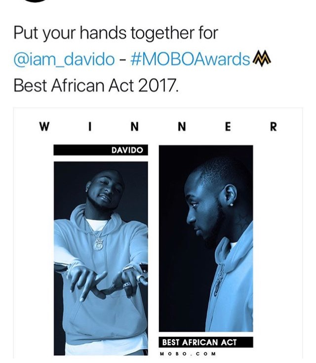 Davido wins MOBO 2017 - Best African act