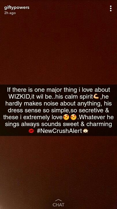 Gifty reveals her crush for Wizkid