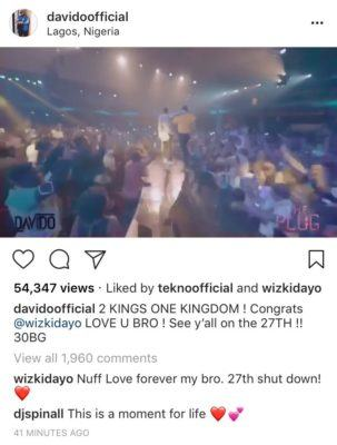 I Love You Wizkid - Davido