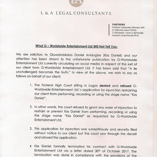 Kiss Daniel's lawyer responds to lawsuit by his former record label