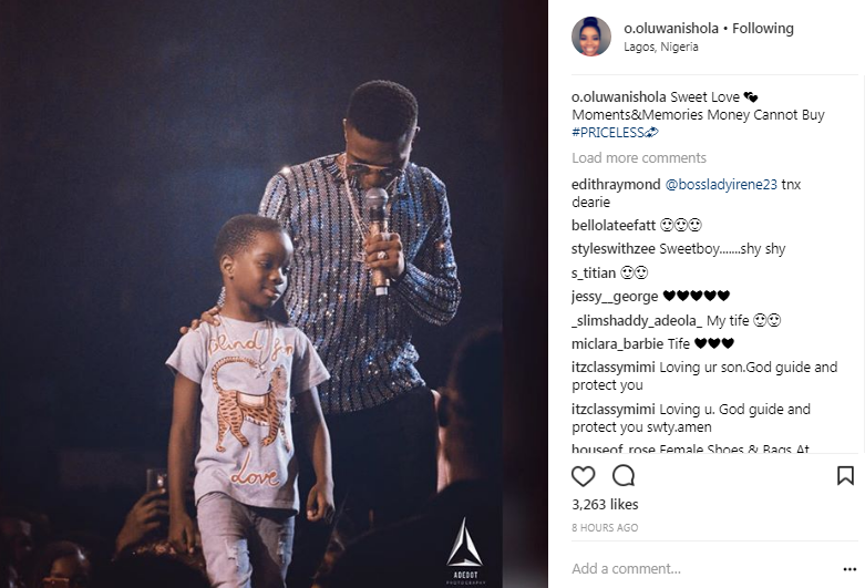Shola Ogudu Excited After Wizkid Brought Their Son On Stage At His Concert