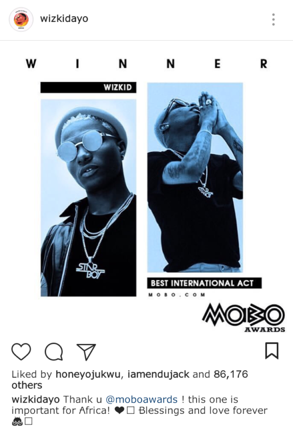 Wizkid On His MOBO Awards