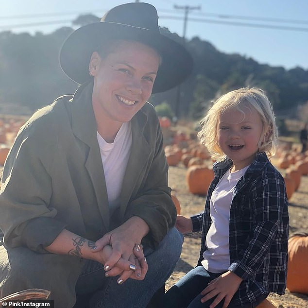 Pink and her son