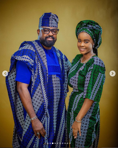Kunle Afolayan and daughter