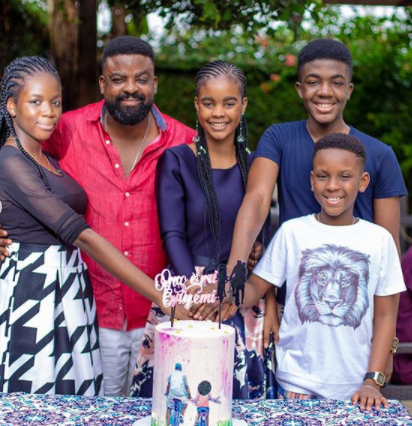 Kunle Afolayan and family